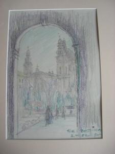 Die Münchner Theatinerkirche. Gemalt von Johannes W.Ley.